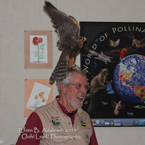 WWW President Lou Rose with Laner Falcon purched on head